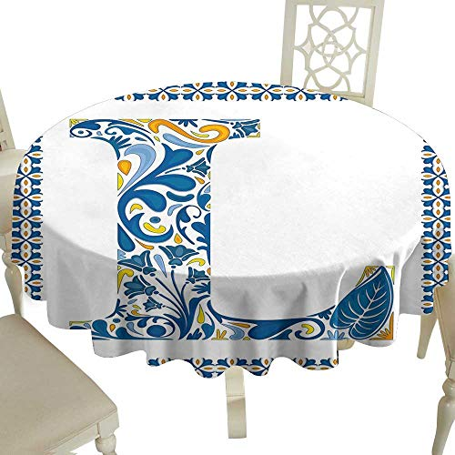 Floral Round Tablecloth 60 Inch Letter L,Capital L in Traditional Portuguese Art Abstract Patterned Font Design,Blue Yellow Orange Great for Traveling & More -