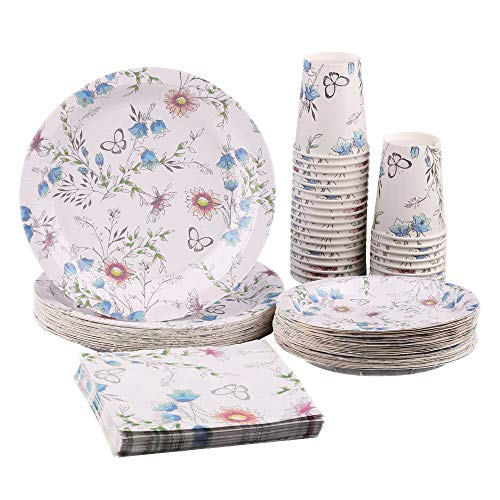 Ottin Tea Party Paper Tableware Set for 36 Guests 9'' Dinner Plates 7'' Dessert Plates 6.5'' Paper Napkins 9oz Paper Cups Disposable Vintage Floral Dinnerware for Wedding Birthday Garden Party (Floral Paper Dinner)