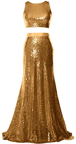 Prom MACloth Gold Piece Sequin Gown Top Mermaid Crop Dress Evening Formal Party 2 qarawUt