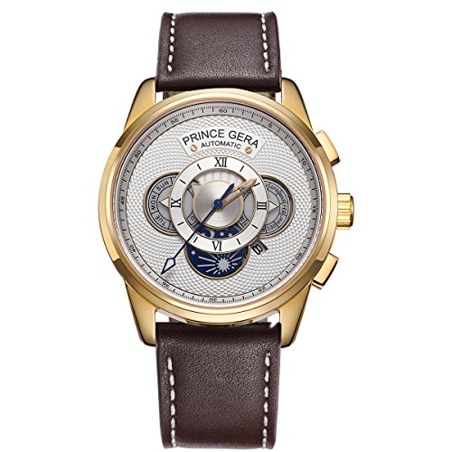 PRINCE GERA Men's 18K Gold Watch Date Day Month Calendar Calfskin Genuine Leather Wristwatches(Gold Case/White Dial)