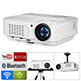 LED Wireless Bluetooth Home Projectors HD WXGA 200' 16:9/4:3 Multimedia Smart TV Projector Android 6.0 VGA RCA Audio USB AV HDMI,Compatible with Game Console DVD PC Laptop Smartphone Xbox Wii