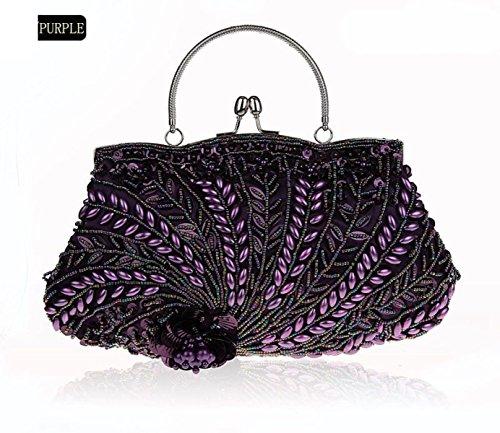 GSHGA Paquete De Bordado Bolso De Embrague Nupcial Del Grano De Las Mujeres Bolso De Tarde De La Cadena De Paquetes De Vestir Retro Bolsa,Silver Purple