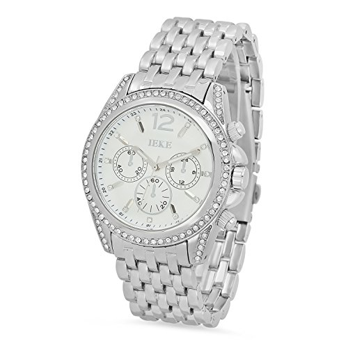 Rhodium Plated White Dial IEKE CZ Bezel Watch w/Trapezoidal Band + Microfiber Jewelry Polishing Cloth