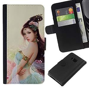 HTC One M9 , la tarjeta de Crédito Slots PU Funda de cuero Monedero caso cubierta de piel (Asian Flower Princess)