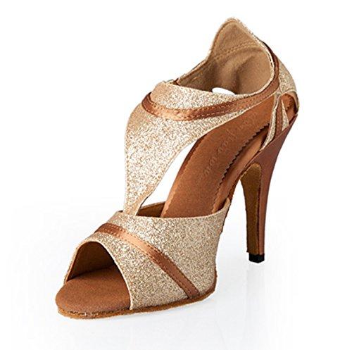 Minishion QJ8056 Womens T-Strap Sparkle Satin Salsa Tango Ballroom Latin Party Dance Shoes Gold 64d5U