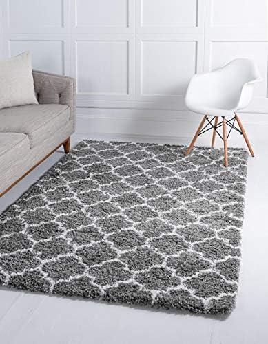 Unique Loom Rabat Shag Collection Lattice Trellis Geometric Moroccan Plush Gray Area Rug 9' 0 x 12' 0