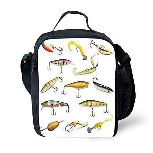 IPrint School Supplies Fishing Decor,Fishing Tackle Bait for Spearing Trapping Catching Aquatic Animals Molluscs Design,Multi for Girls or boys (Animal Bait Trapping Kit)