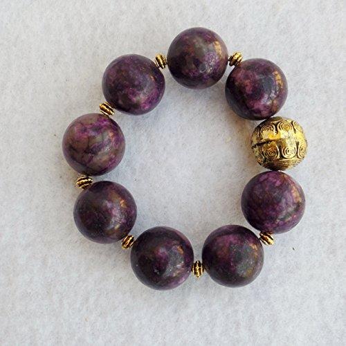 Claire Kern Creations Purple Russian Charoite 18 mm Beads Gemstone Bracelet Handmade