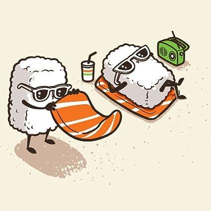 amazon com summer sushi funny cartoon sushi sunbathing on beach