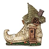 Miniature FAIRY GARDEN Solar Old Lady Shoe House NEW