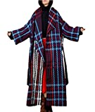 Yesno JBC Women Fashion Long Thicken Wool Jacket Plaid Tweed Coat Asymmetric Oversize Collar Long Sleeve/Belt