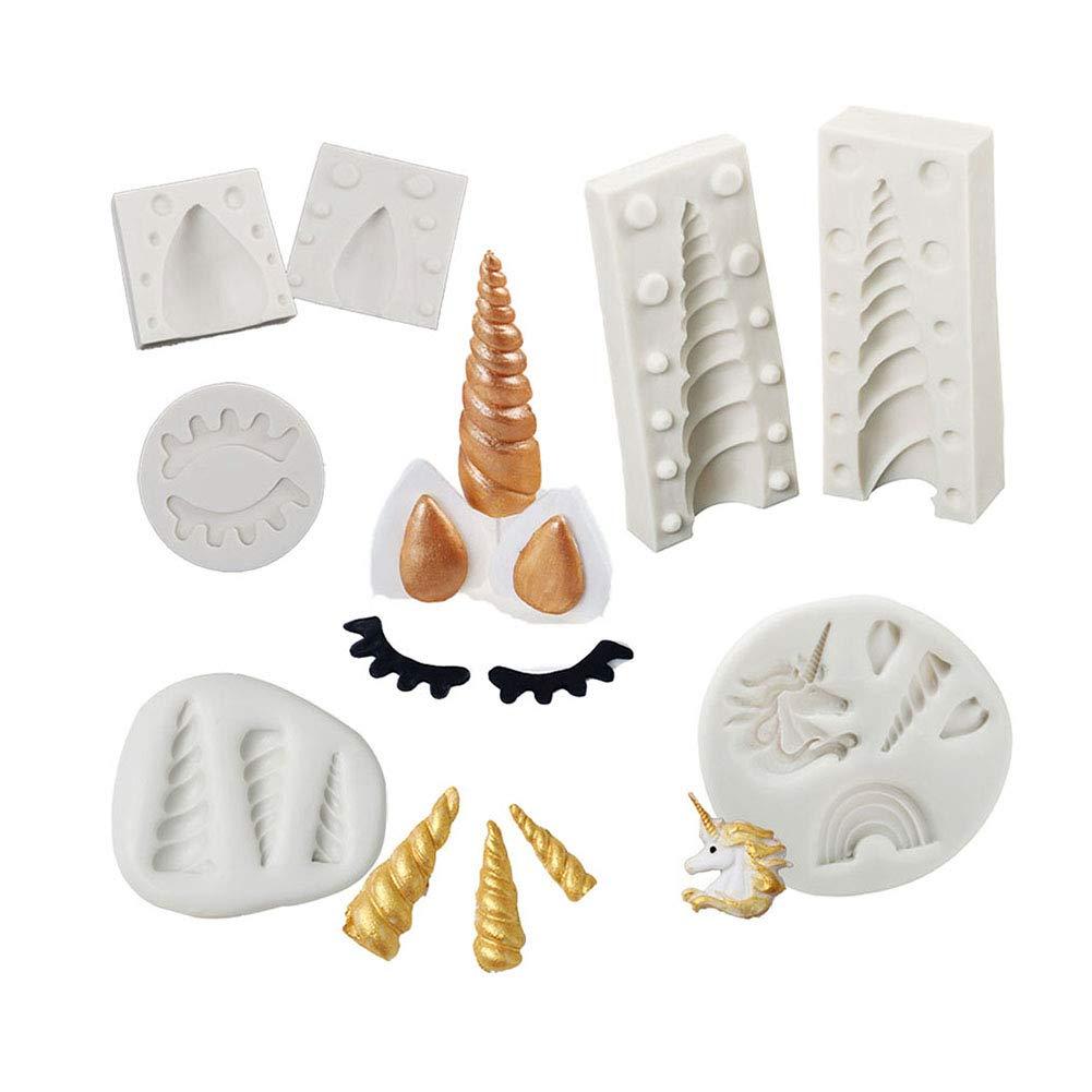 3D Unicorn Silicone Cake Topper Molds Mini Unicorn Horn Ears Cupcake Fondant Chocolate Candy Sugarcraft Eyelash Mould Set (7 Sets) by KALAIEN