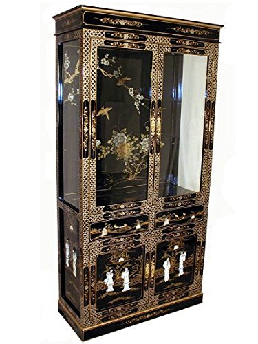 Curio Hand Painted Cabinets - Hand Painted Chinese Lacquer Curio Cabinet