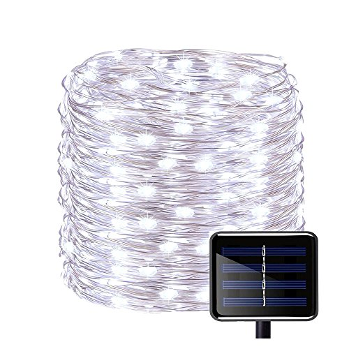 Outdoor Solar Powered Copper Wire String Lights 8 Modes 150 LED(50ft) Waterproof Christmas Decor String Light Ambiance Lighting for Christmas tree Patio Path Party Garden Wedding Halloween(Cool White)