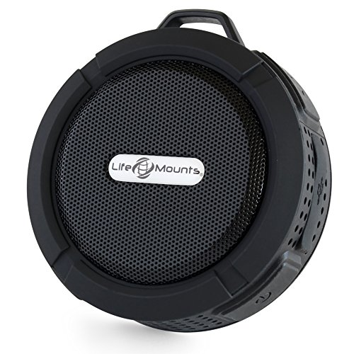 Life Mounts Weatherproof Bluetooth Boat Speaker with Patented Flex Mount - Hands-Free Music - Ultimate Boating Accessory (Black)