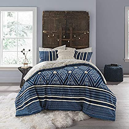 Image of Home and Kitchen Anthology Henley Reversible Twin/Twin XL Comforter Set in Blue, 5 Pieces Set