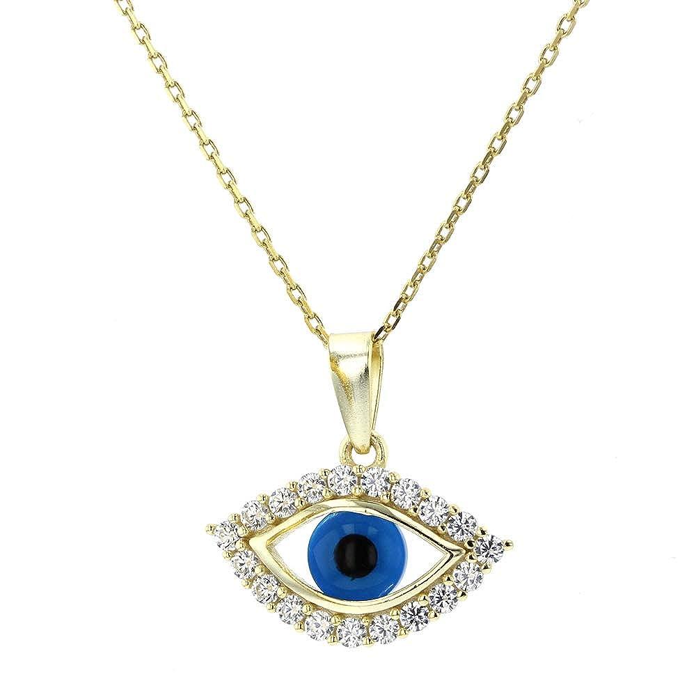 Silver /& Cubic Zircon Evil Eye Necklace DiamondJewelryNY Evil Eye Pendant