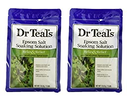 Dr. Teals Epsom Salt Soaking Solution with Eucalyptus Spearmint, 48 Ounce (Pack of 2 (6lbs))