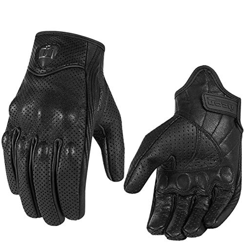 (Reminder me Street Stealth Leather Motorcycle Gloves M/L/XL Mens Black Perforated Pursuit (M))