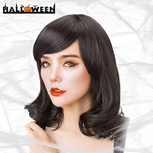 Rabbitgoo Halloween Medium Wig Hair Black Wigs Curly Bob Wigs With (Brunette Halloween Costumes)