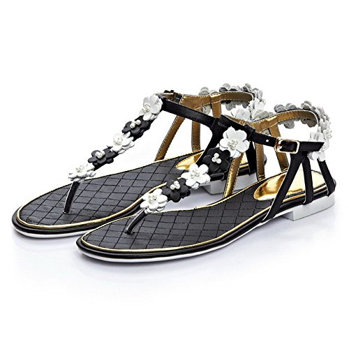 Amoonyfashion Kvinnor Spänne Låga Klackar Ko Läder Fast Split Sandaletter Svart