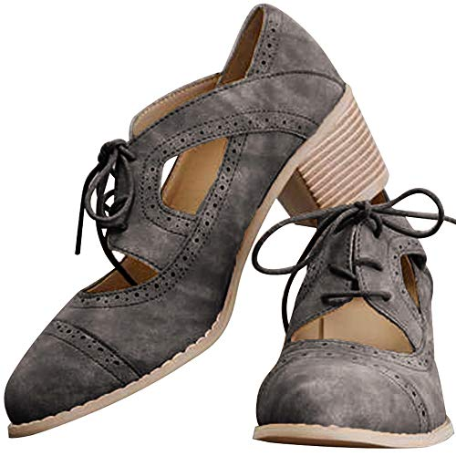 (Athlefit Women's Cut Out Ankle Boots Breathable Vintage Oxford Block Heel Pumps Size 8.5 Grey)