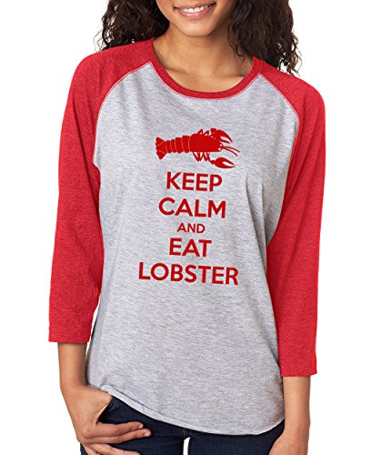 SignatureTshirts Woman's Keep Calm and Eat Lobster 3/4 Sleeve Raglan T-Shirt Red