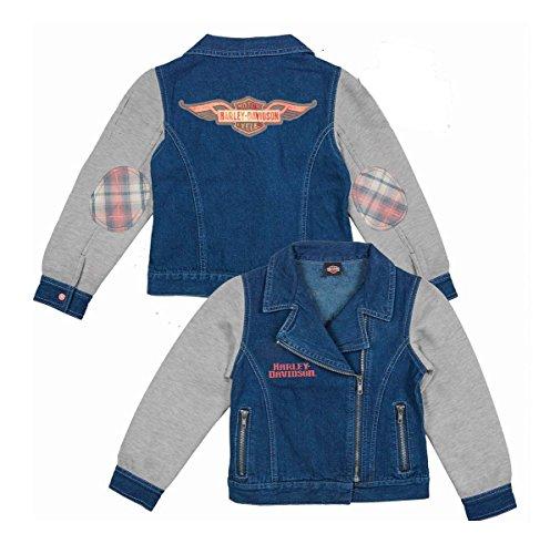 (Barnett Harley-Davidson Harley-Davidson Girls Youth Winged Trademark B&S Glitter Print Jacket (7/8))