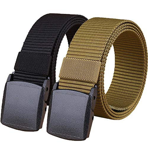 Hoanan 2 Pack Military Tactical Belt, Plus Size No Metal Webbing Nylon Web Belt 1.25 Belt (black+brown)