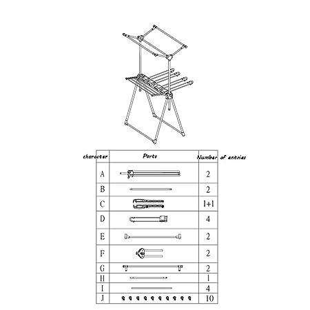 QFFL Secadora de Ropa Plegable de 2 Niveles Airer Laundry Drying ...