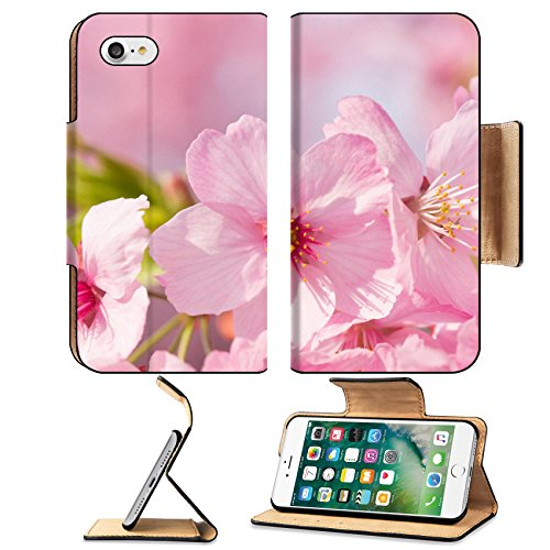 MSD Premium Apple iPhone 7 Flip Pu Leather Wallet Case IMAGE ID: 27873631 Shining pink cherry blossom