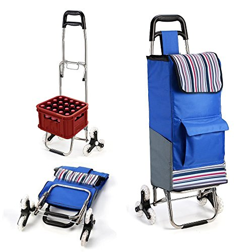 Premium Folding Shopping Cart Stair climber Grocery Utility Laundry Trolley With Stair Climbing Wheels Heavy Duty & Light Weight Cart Larger Storage & 40.2 Inch Higher Frame (Companion Stairs)