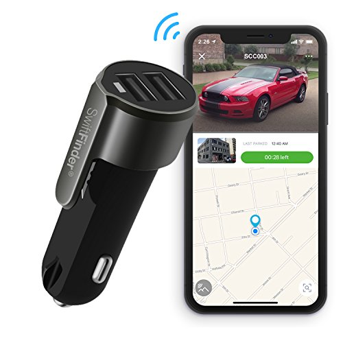 Smart Car Charger,Car Finder with Locator,Fast Car Charger with 15W/3A Max Output and Parking Reminder,Dual USB with Emergency Window Breaker and Seatbelt Cutter, Car Charger with App Control