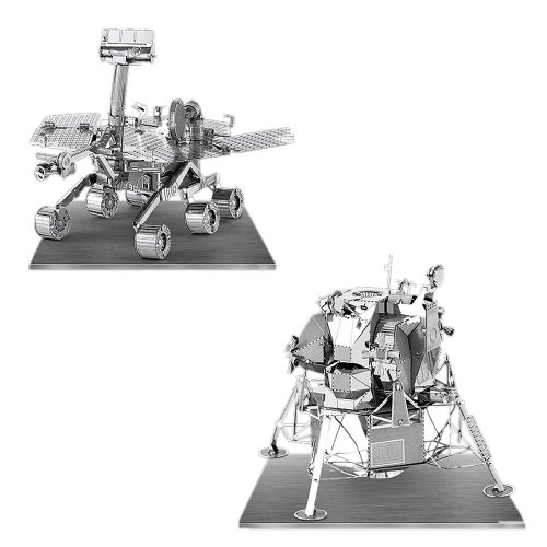 Metal Earth 3D Laser Models Spacecraft Set Of 2   Mars Rover  Apollo Lunar Module
