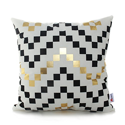 Monkeysell Bronzing flannelette Geometric black Gold blocking Throw pillow cases pillow covers decorative protector for Sofa office bedroom shop adornment 18x18 (S072B3) (Shop Throw Pillows)