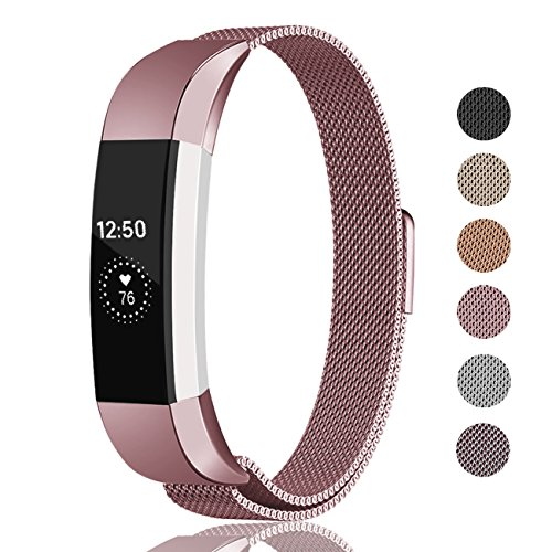 Fundro Compatible Fitbit Alta HR Alta Band, Milanese Stainless Steel Metal Replacement Band Magnetic Lock Fitbit Alta HR Alta, Women Men Small Large by