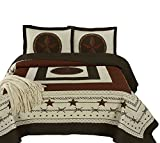 Chezmoi Collection Tucson 3-Piece Western Star Cabin Lodge Design Soft-Washed Quilt Set Oversized 100'' x 106''(Queen, Beige)