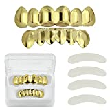 TOPGRILLZ 18K Gold Plated Hip Hop Custom Fit Top and Bottom Teeth Grillz Caps with 4 Silicon Molding Bars (2 Extra)