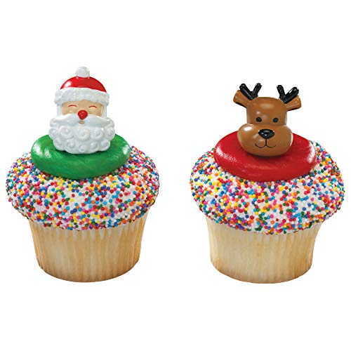Baking Addict Cupcake Topper Decorations Cake Pop Dessert Decorating Rings Jolly Santa and Reindeer, Wholesale Case of 864 (12 Packs of -