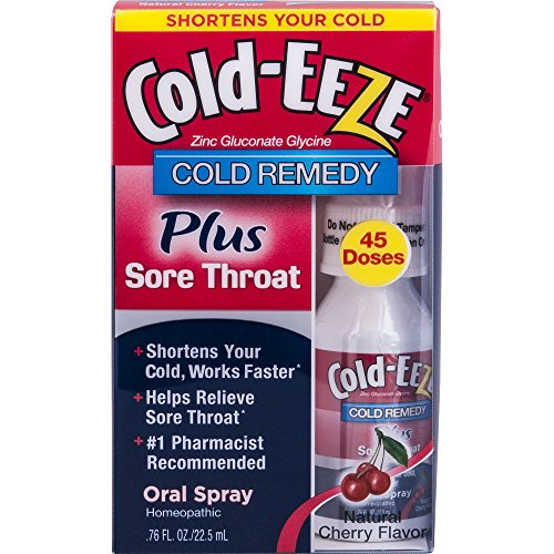Cold-EEZE Oral Spray Cold Remedy PLUS Sore Throat, Natural Cherry Flavor, 0.76 Ounce (45 DOSES) (Homeopathic Sore Throat Spray)