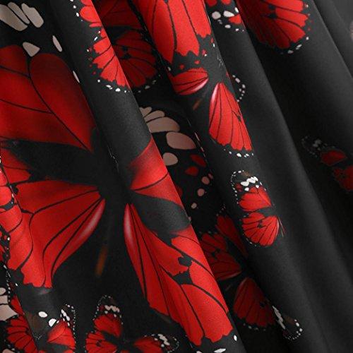 de de 2018 Vestido Bodas Mariposa la Remiendo del Vestido de del Verano Negro Impresión la de Mujer Mangas de Vestidos Grandes Fiesta Baile de sin Elegantes Tallas Noche para LILICAT® Cordón Hdqwq1Rn