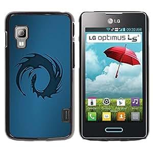Be Good Phone Accessory // Dura Cáscara cubierta Protectora Caso Carcasa Funda de Protección para LG Optimus L5 II Dual E455 E460 // Blue Tribal Dragon
