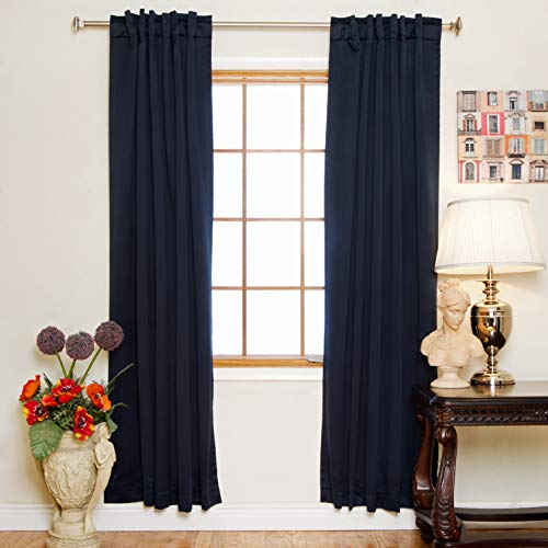 Blackout Curtain Navy Rod Pocket Energy Saving Thermal Insulated 74 Inch Length - Pair Insulated Thermal Curtains Polyester