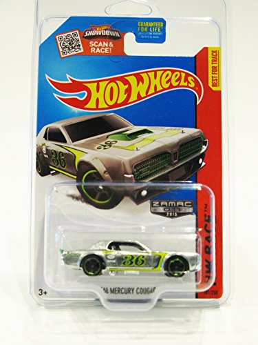 2015 Hot Wheels Walmart Exclusive HW Race Track Aces '68 Mercury Cougar ZAMAC 011 #181/250 (ChrGreenMC5 Wheels) in Protecto (Walmart Hot Wheels Track)