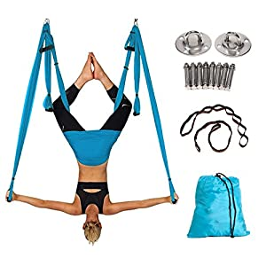 Alice Versatile Aerial Yoga Swing Kit Yoga Hammock Set with Adjustable Handles, 2 Extension Straps and Installation Hardware