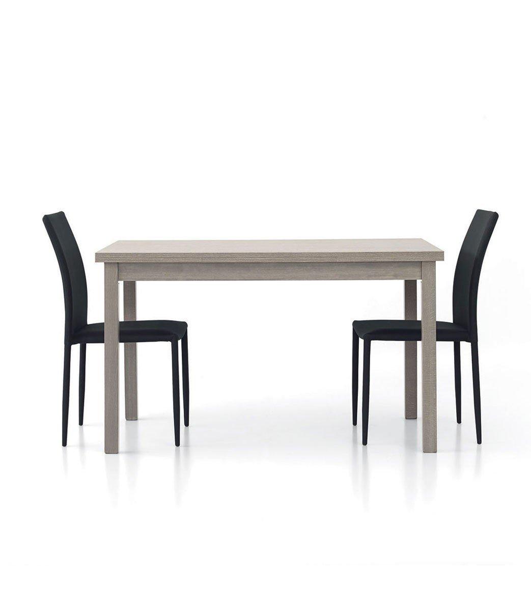 Stile Moderno InHouse srls Tavolo Rovere Moro weng/è con 2 allunghe da 40 cm Mis in MDF Laminato e Struttura in Legno 130 x 80 x 75 Chiuso