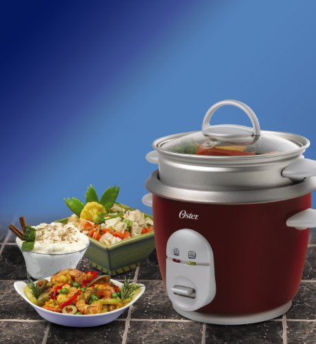 Oster 4722 3-Cup (Uncooked) 6-Cup (Cooked) Rice Cooker with Steaming Tray, Red