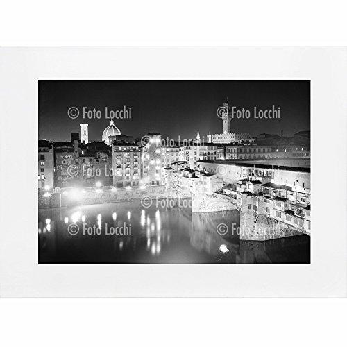 Archivio-Foto-Locchi-Firenze-Stampa-Fine-Art-su-passepartout-40x30cm-Immagine-del-panorama-notturno-di-Firenze-negli-anni-50