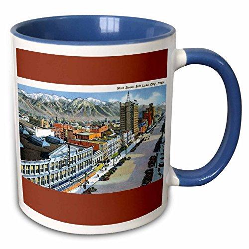 3dRose BLN Vintage US Cities and States Postcards - Main Street, Salt Lake City, Utah Aerial View of the City - 15oz Two-Tone Blue Mug (mug_170754_11)