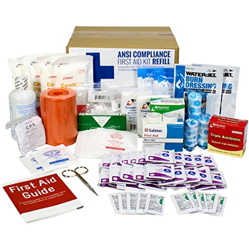 OSHA & ANSI First Aid Kit Refill / Upgrade, 50 Person, 196 Pieces, ANSI 2015 Class B - includes splint, tourniquet, tools, single dose and more (Aid Kit Refill First)